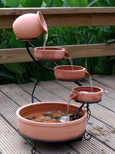 Terracotta Cascade Solar Water Fountain Daytime Version