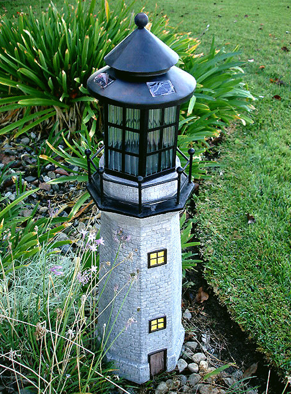 ASC Solar Lighthouse Garden Figurine Light House Garden Gray Color 36