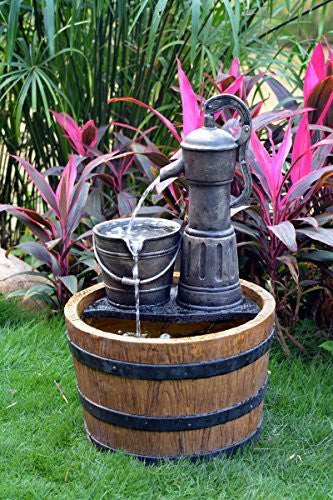 Solar Sunnysaze Old Fashioned Water Pump Kit with Barrel Fountain - Open Box
