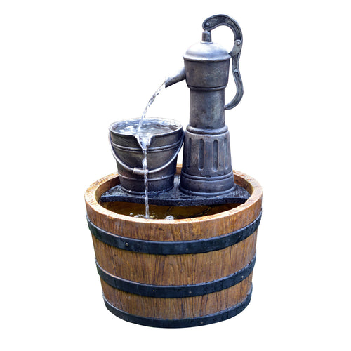 Sunnysaze Old Fashioned Barrel Water Fountain with Battery/Timer and LED Light
