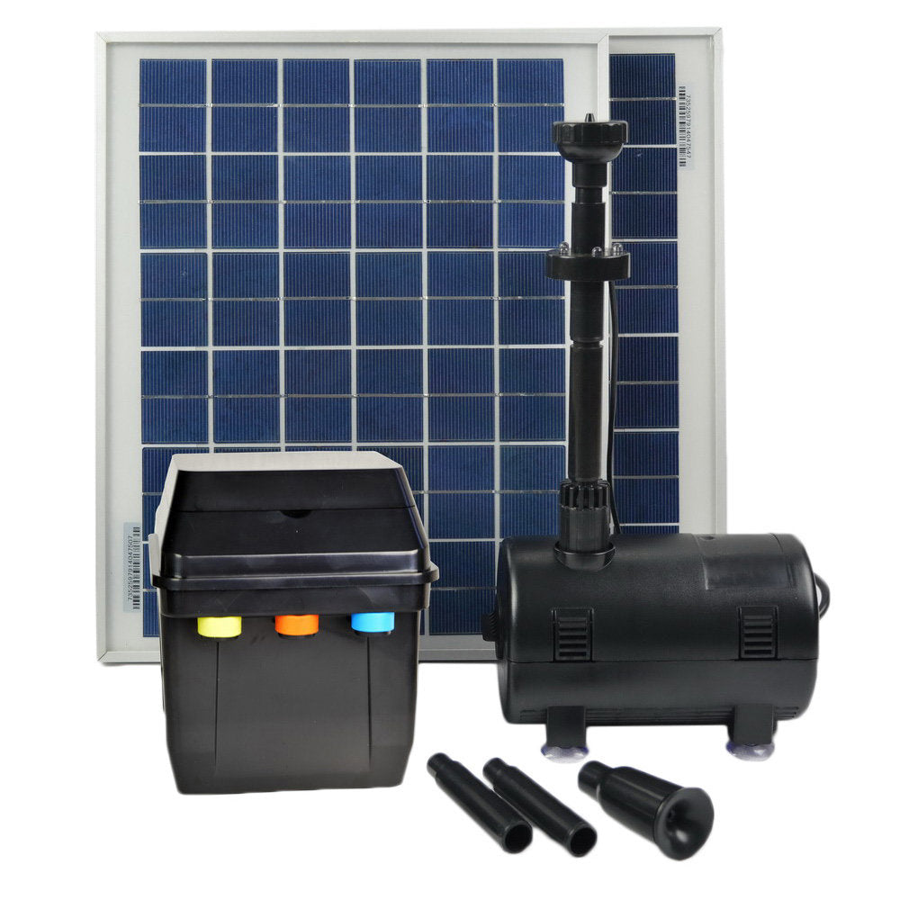 20 Watts Solar Water Pump Kit with Premium  Battery Timer Control Box, LED Lights and Winter Mode
