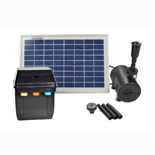 8 Watts Solar Water Pump Kit with Premium Battery Timer Control Box, LED Lights, and Winter Mode