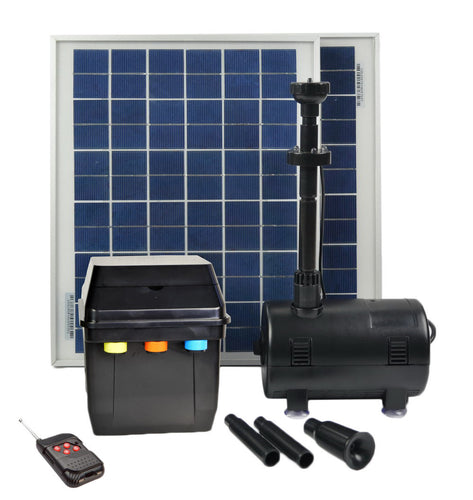 16 Watts Solar Water Pump Kit with Premium Battery Timer Control Box, LED Lights and Winter Mode