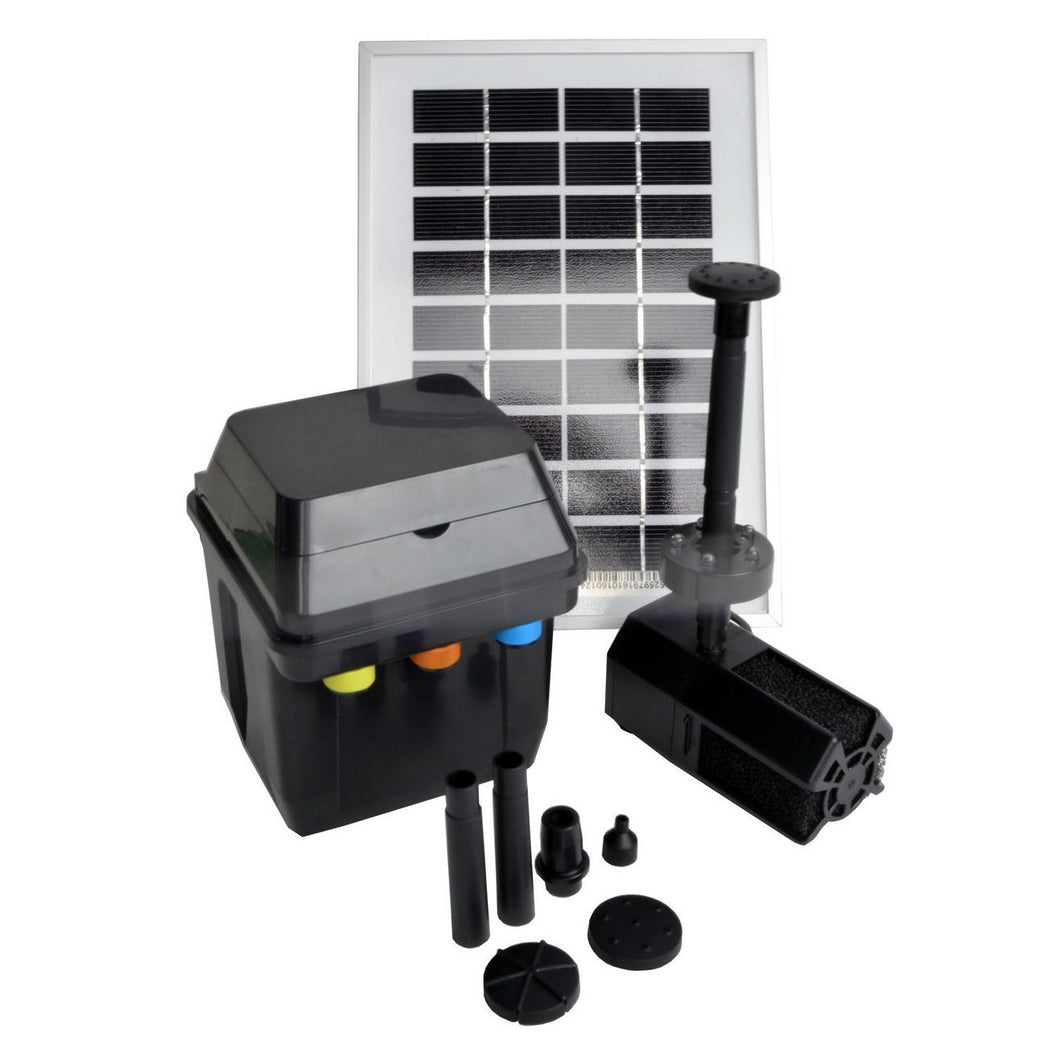 3 Watts Solar Water Pump Kit with Premium Battery Timer Control Box & LED Lights