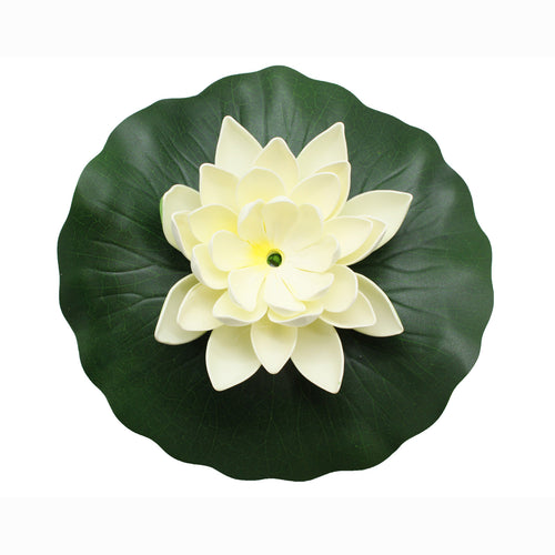 ASC Solar Powered Water Floating Lotus Fountain with Water Pump White - Open Box