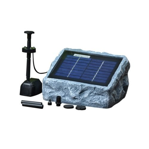 ASC Solar Stone Water Pump Kit with Battery and LED Ring Light - Open Box