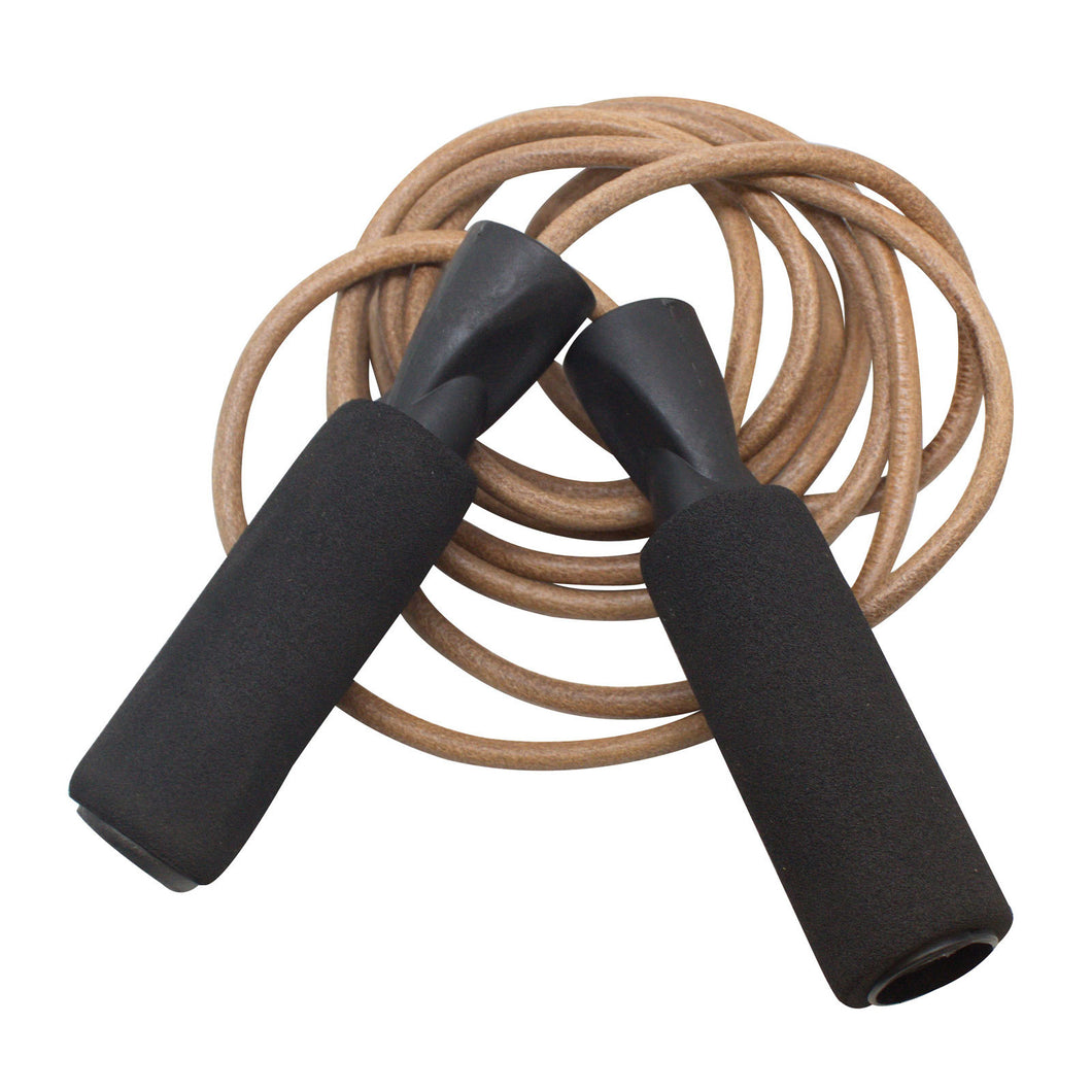SAS Jump Rope for Cardio Training Leather Black Rope w/ Foam Handle - Open Box