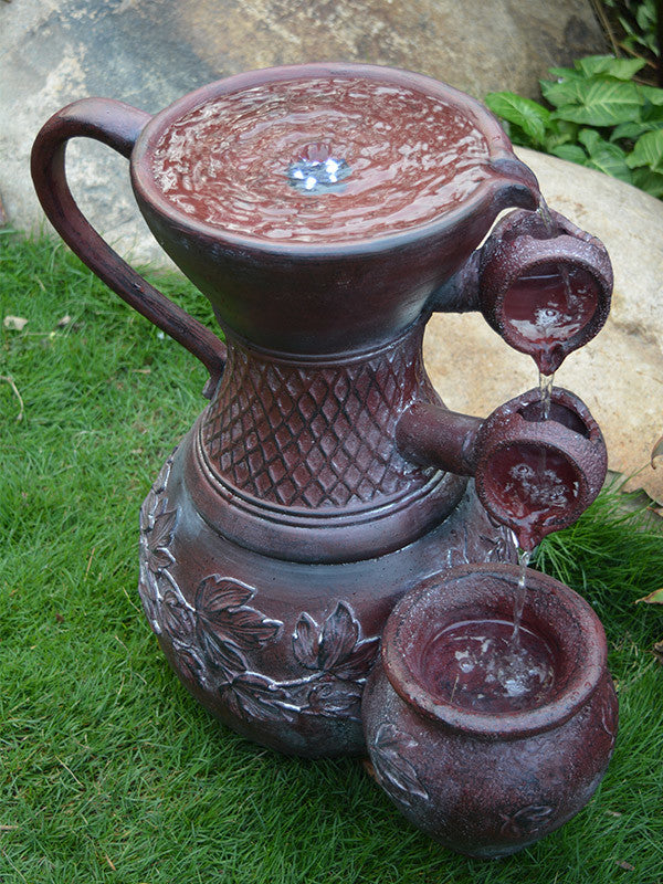 3-tier Pitcher Water Fountain with Solar Water Pump Kit - Open Box