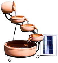 Terracotta Solar Cascade Water Fountain Battery/Timer & LED Lights