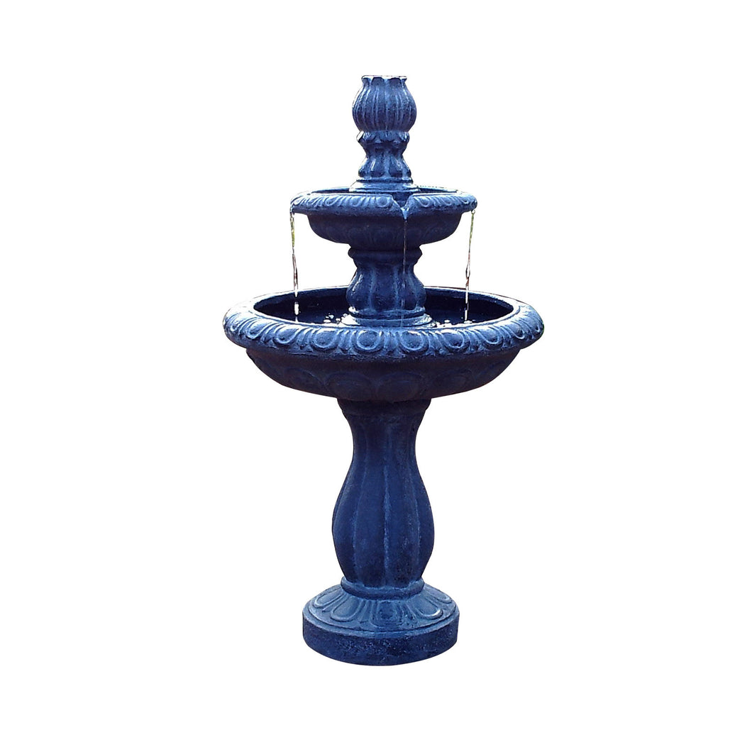 Solar 2 Tier Tulip Water Fountain with Timer and LED Lights