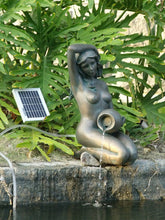 ASC Bronze Girl Kneeling Holding Pot with 2-watts Solar Water Pump Kit or Power