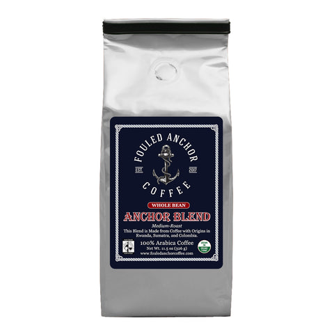 Whole Bean Anchor Blend by Fouled Anchor Coffee - Great Tasting, Medium Roast, Organic, 11.5 oz ba