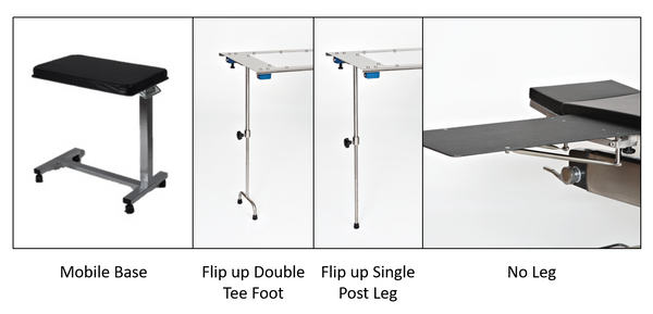 Arm & Hand Surgery Tables with Mobile Base, Double T Foot, Single Leg, and No Leg