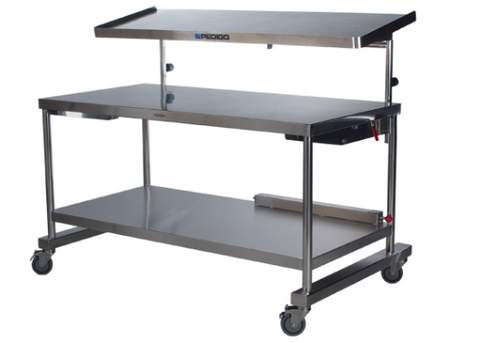 "AC548 Two Tier Back/Instrument Table, Main Table: 60""W x 30""D x 34""H, Top Shelf: 60""W x 20""D"