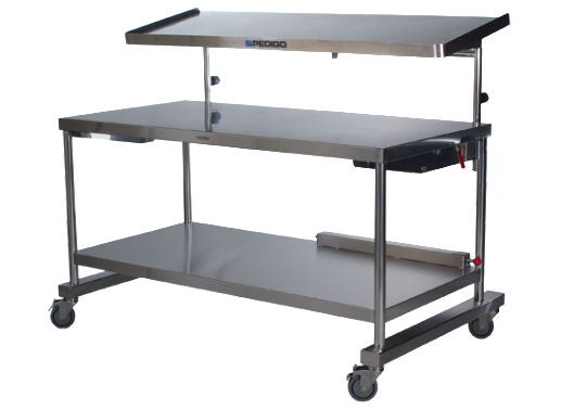 "AC317 Two Tier Back/Instrument Table, Main Table: 72""W x 30""D x 34""H, Top Shelf: 72""W x 20""D"
