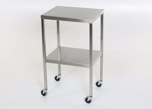 "AC2000 Stainless Steel Instrument/Back Table with Shelf: 20""W x 20""D x 34""H"