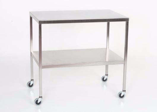 "AC2007 Stainless Steel Instrument/Back Table with Shelf: 48""W x 24""D X 34""H"