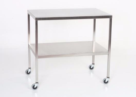 "AC2004 Stainless Steel Instrument/Back Table with Shelf: 36""W x 20""D x 34""H"