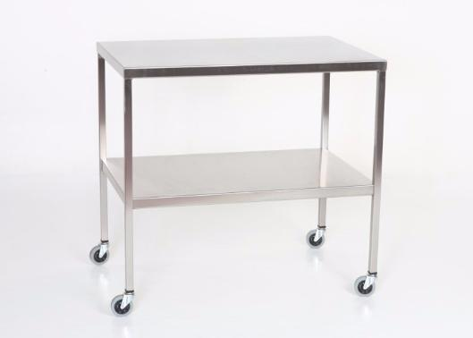 "AC2006 Stainless Steel Instrument/Back Table with Shelf: 48""W x 20""D x 34""H"