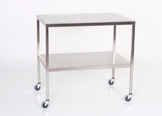 "AC2003 Stainless Steel Instrument/Back Table with Shelf: 33""W x 18""D x 34""H"