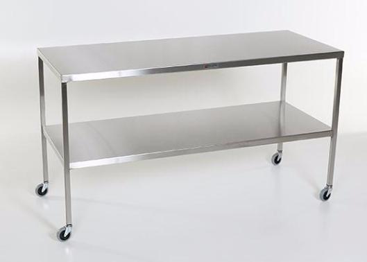 "AC2009 Stainless Steel Instrument/Back Table with Shelf: 72""W x 24""D x 34""H"