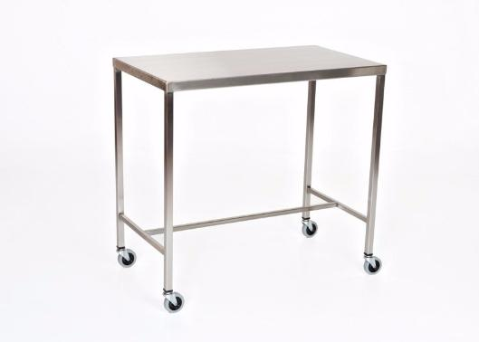 "AC2016 Stainless Steel Instrument/Back Table with H Brace: 48""W x 24""D x 34""H"