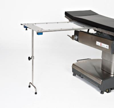 AC2204-2 Rectangle Stainless Steel Arm & Hand Surgery Table: Under-the-Pad Mount with Double Tee Foot