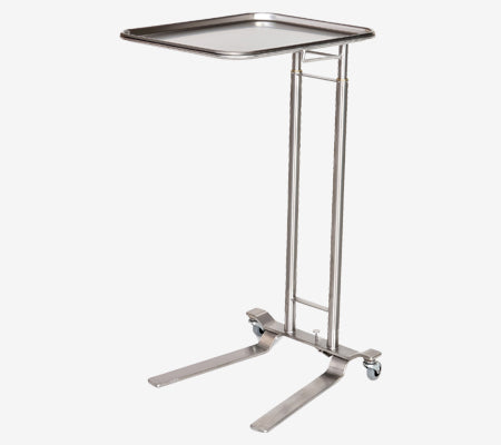 "MS750 Stainless Steel Mayo Stand, Foot Control, Dual Post, Removable Tray: 12 5/8""W x 19 1/8""L, 36 - 62""H"