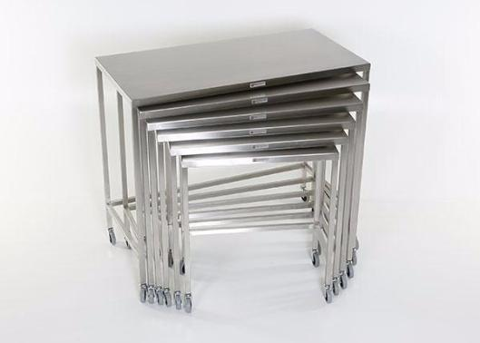 "AC2021 Stainless Steel Nesting Instrument/Back Table with U-Brace: 32""W x 16""D x 34""H"