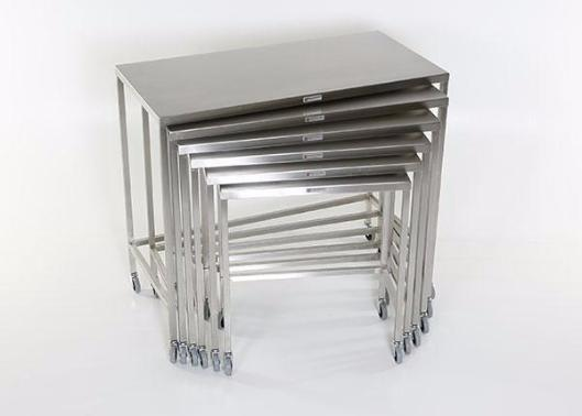 "AC2022 Stainless Steel Nesting Instrument/Back Table with U-Brace: 36""W x 18""D x 36""H"