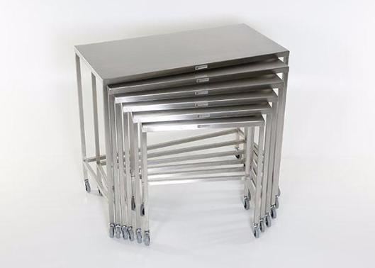 AC202-SET Stainless Steel Nesting Instrument/Back Tables with U-Brace; Complete Set of 6