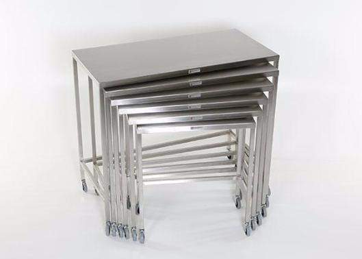 "AC2024 Stainless Steel Nesting Instrument/Back Table with U-Brace: 44""W x 22""D x 40""H"