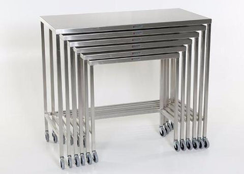 "AC2020 Stainless Steel Nesting Instrument/Back Table with U-Brace: 28""W x 14""D x 32""H"