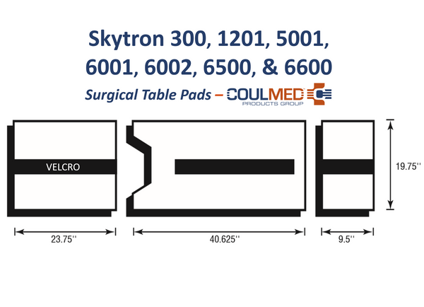 Skytron 300, 1201, 5001, 6001, 6002, 6500, 6600 Surgical Table Pads