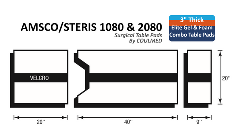 Gel & Foam Combo AMSCO/STERIS 1080 & 2080 Surgical Table Pads