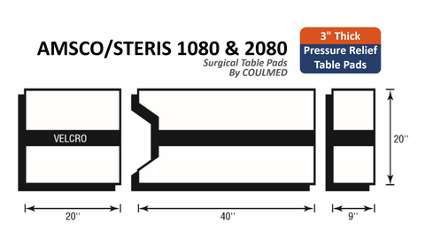 Pressure Relief AMSCO/STERIS 1080 & 2080 Surgical Table Pads