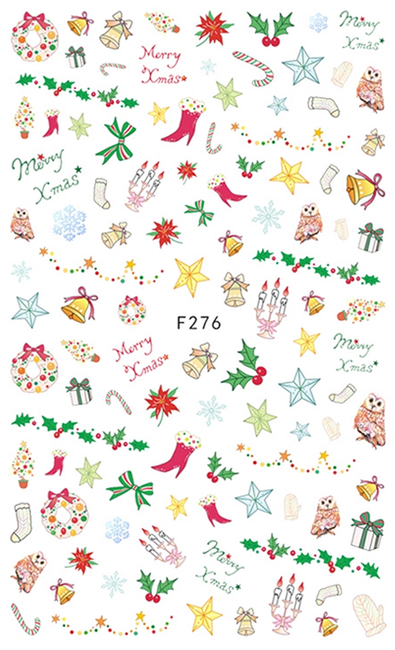 Christmas Holly and Stars Nail Sticker