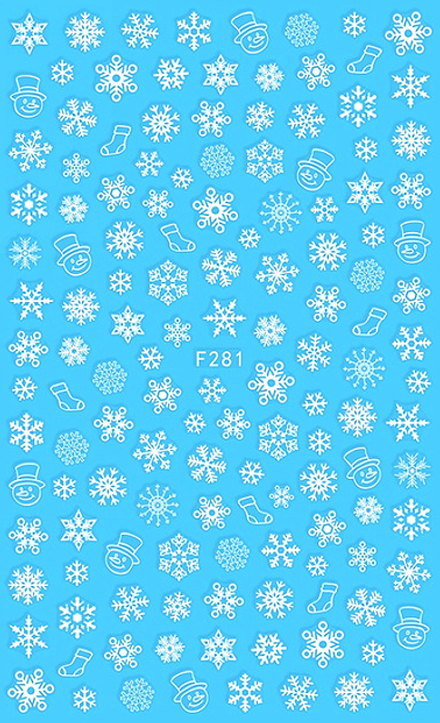 Snowflakes and Snowmen Nail Sticker
