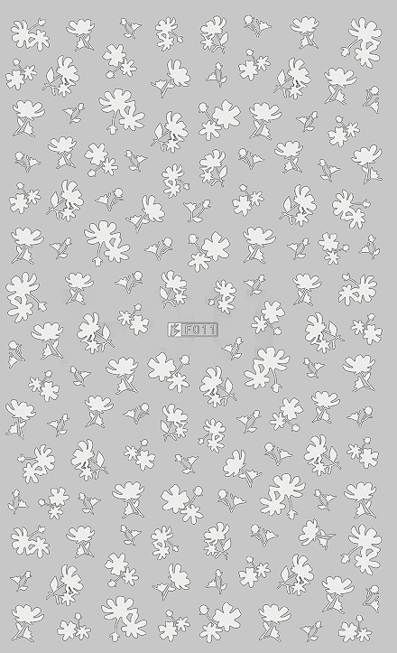 Floral 1 White - Nail Sticker Thumbnail