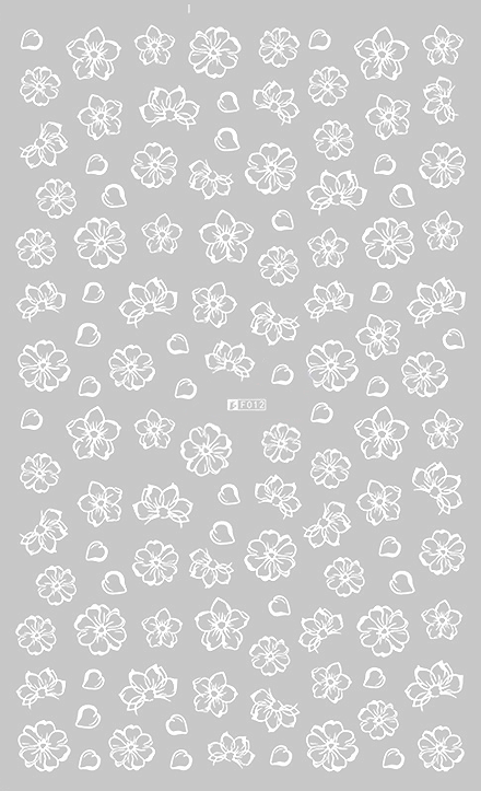 Floral 2 White - Nail Sticker Thumbnail