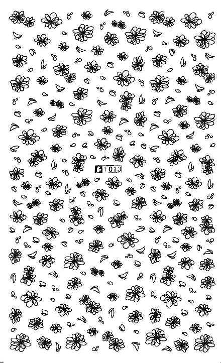Floral 3 Black - Nail Sticker Thumbnail