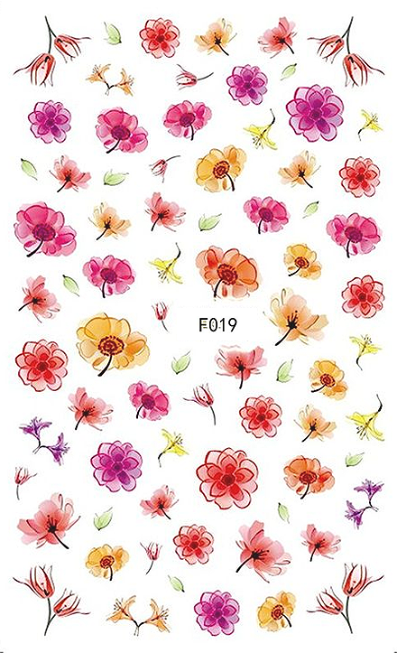 Floral Water Color - Nail Sticker Thumbnail