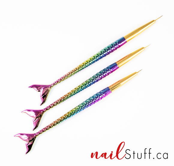 Mermaid Tail Nail Brush Trio