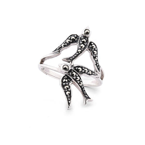 Joni: Swallow Ring in Marcasite and Sterling Silver