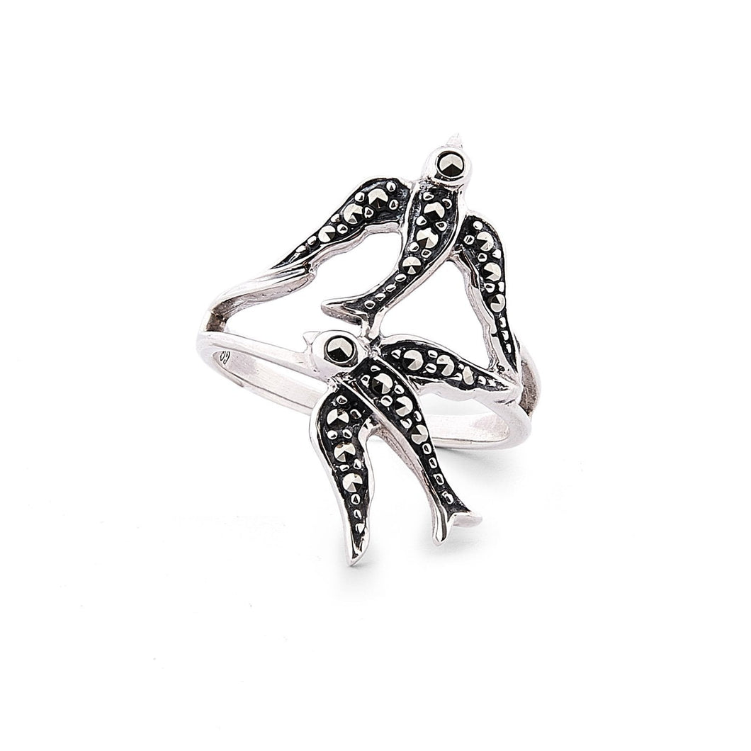 Joni: Marcasite and Sterling Silver Swallow Ring