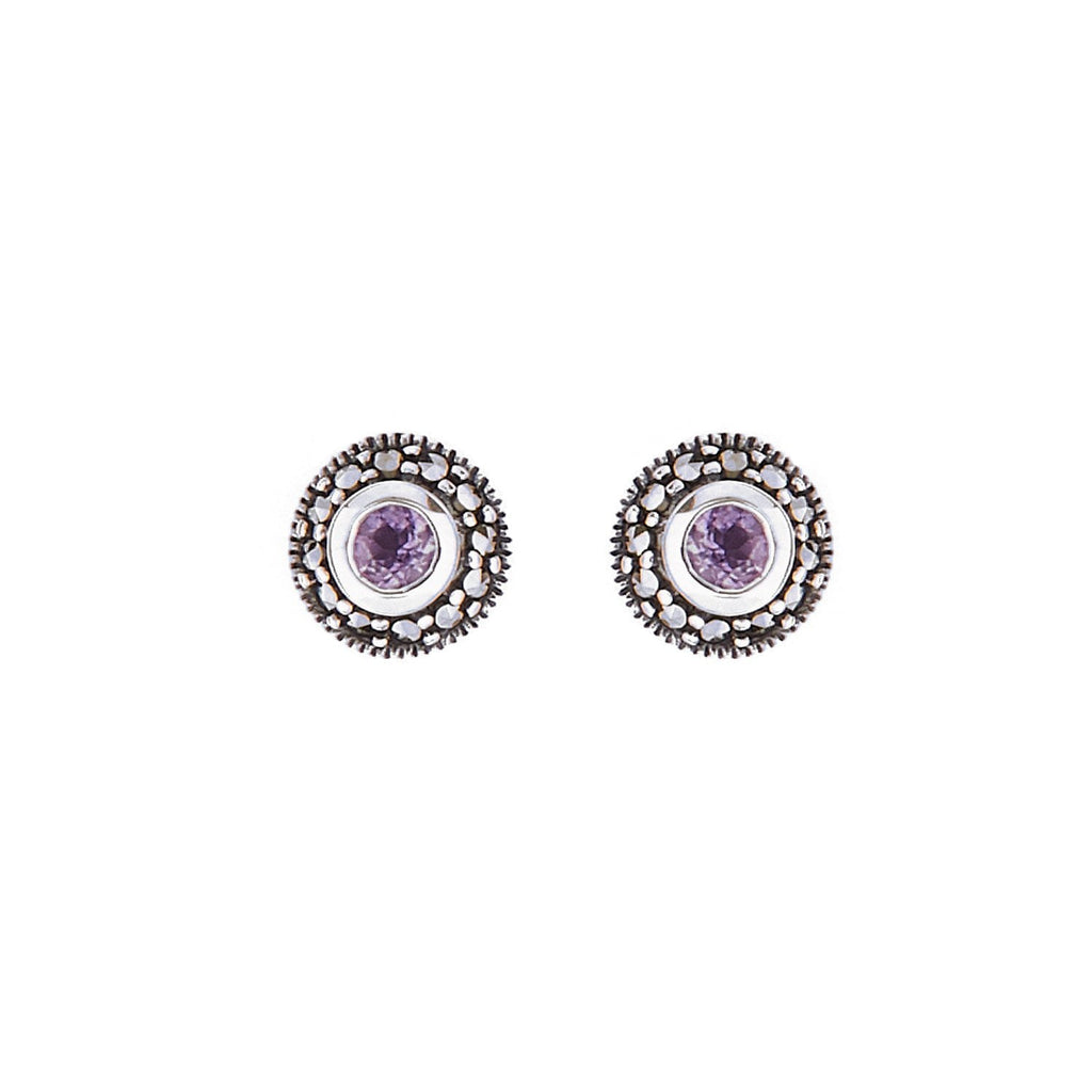 Maria: Amethyst/Peridot, Marcasite and Sterling Silver Stud Earrings