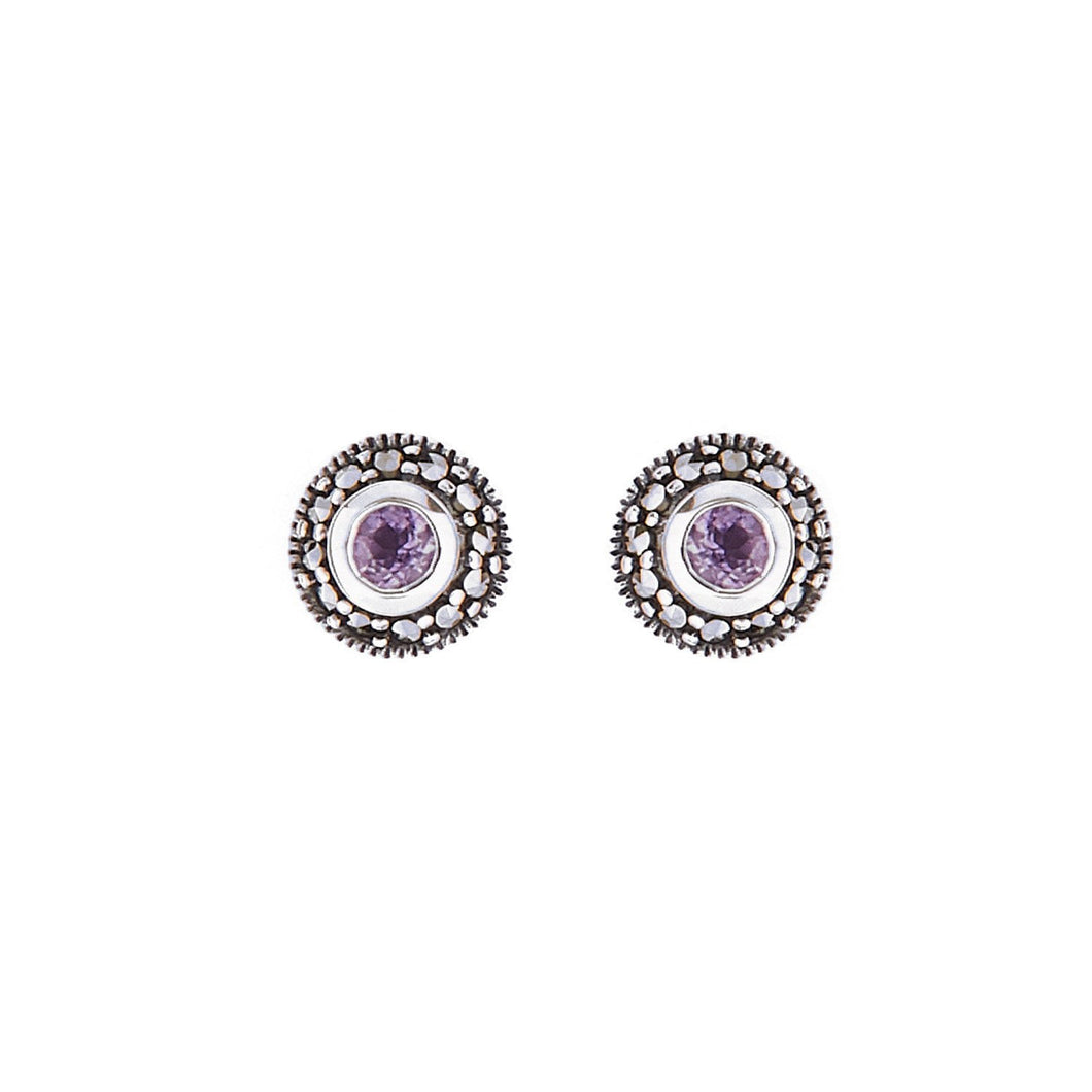 Maria: Art Deco Stud Earrings in Amethyst, Marcasite and Sterling Silver