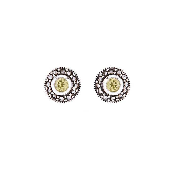 Maria: Art Deco Stud Earrings in Peridot, Marcasite and Sterling Silver