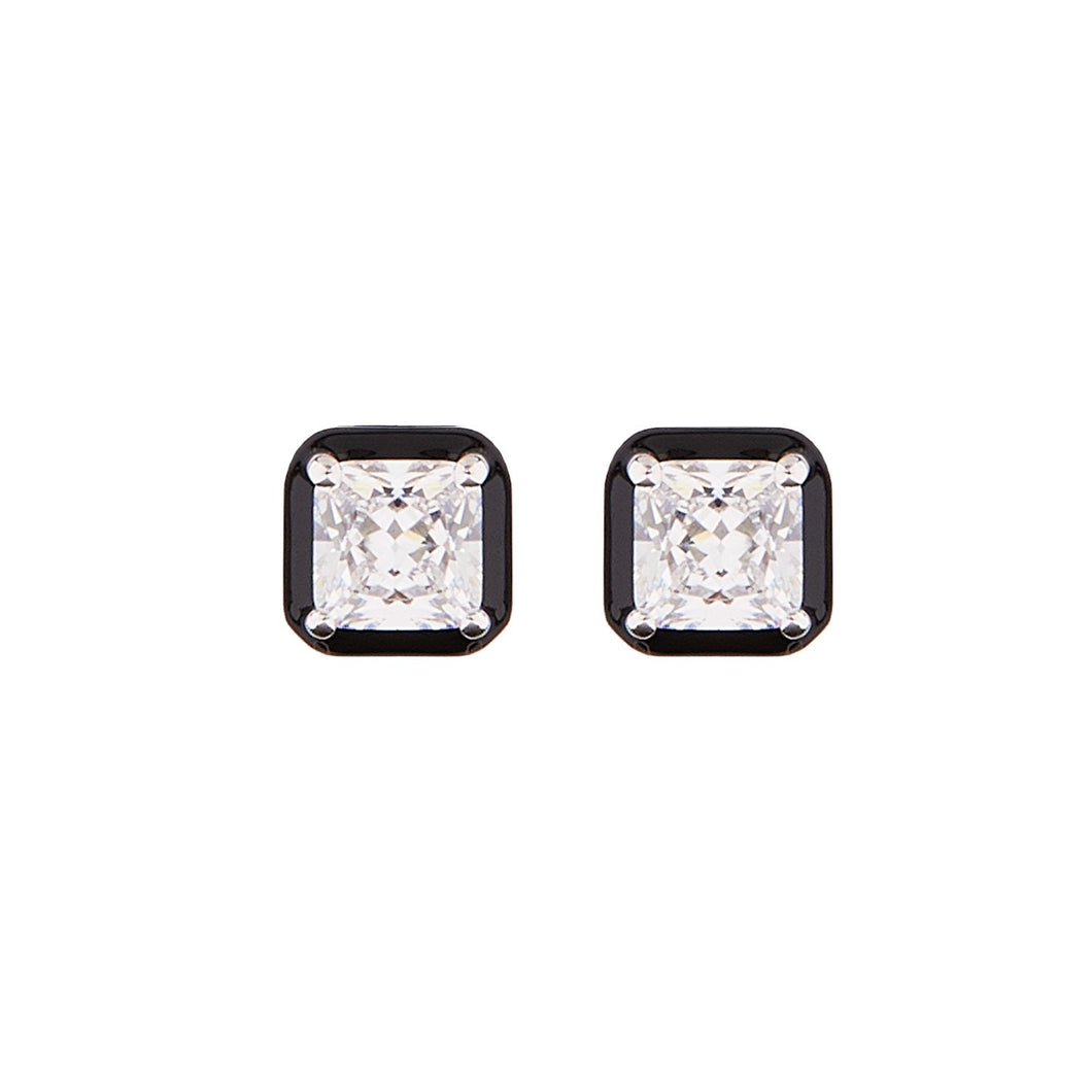 Lauren: Art Deco Stud Earrings in Cubic Zirconia, Black Enamel and Sterling Silver