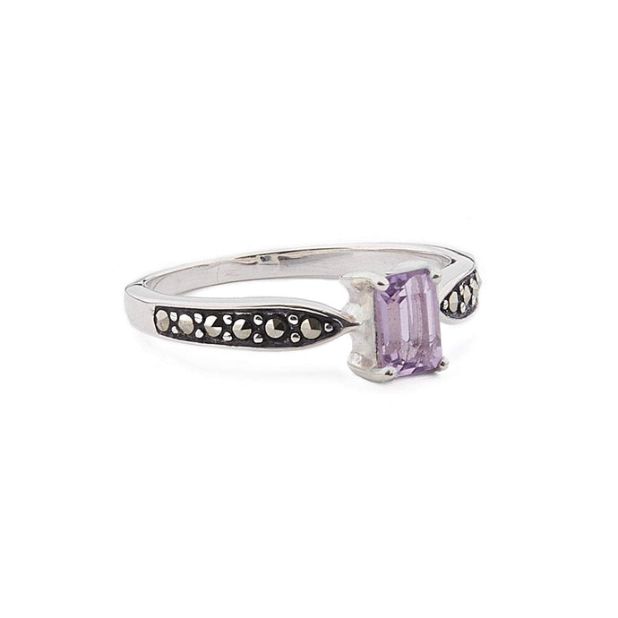 Celia: Art Deco Ring in Amethyst, Blue Topaz, Marcasite and Sterling Silver